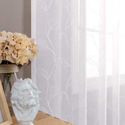 $73.31 • Buy White Sheer Curtains For Living Room Leaf Tile Embroidered Window Curtain Rod Po