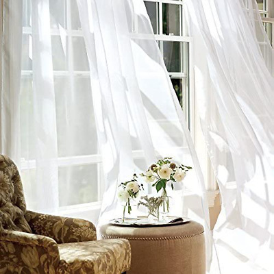 $46.64 • Buy Jinchan White Sheer Curtains 95 Inches Long For Living Room Rod Pocket Drapes Fo