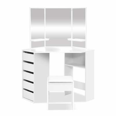 AU175.05 • Buy Artiss Corner Dressing Table With Mirror Stool White Mirrors Makeup Tables Chair