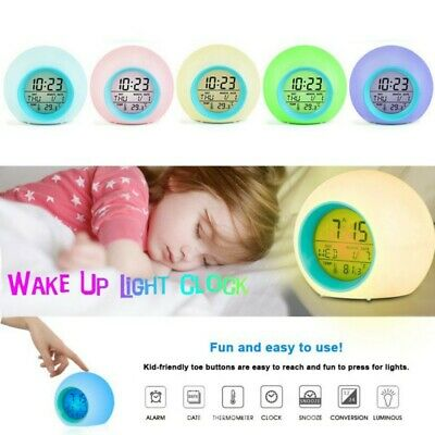 AU23.59 • Buy 7 Color Mute LED Change Digital Bedroom Child Night Light Glowing Alarm Clock