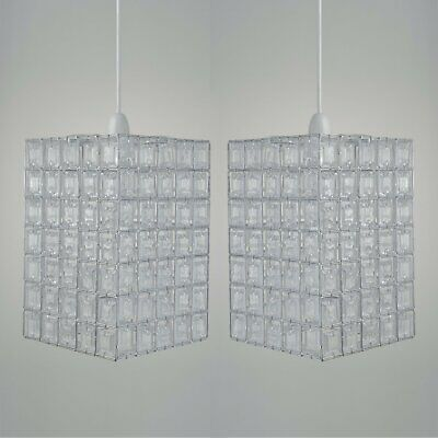 Set Of 2 Crystal Style Clear Acrylic Jewelled Easy Fit Ceiling Light Shades • 24.99£