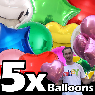 £2.99 • Buy 5x Helium Balloons OR AIR 18  Inch Foil Star Heart Round Party Baloons Ballons