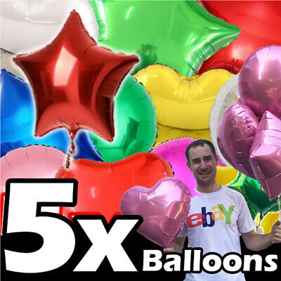 £2.99 • Buy 5x Helium Balloons OR AIR 18  Star Heart Birthday Party Foil Baloons Ballons