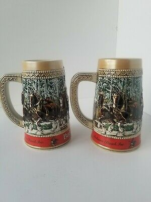$ CDN39.53 • Buy Lot 2 - 1987 Budweiser  C  Series Christmas Clydesdales Holiday Collector Stein