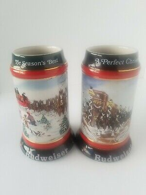 $ CDN32.96 • Buy Lot Of 2 Vintage Budweiser Holiday Beer Stein (1991-1992) Collectible