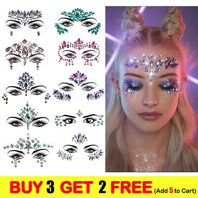 £3.64 • Buy Face Gems Adhesive Glitter Jewel Tattoo Sticker Festival Rave Party Body Make Up