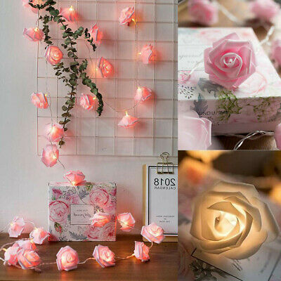 20/40 Bulbs Decoration Party Valentine Lamp LED Flower USB Rose Lights String • 5.80£