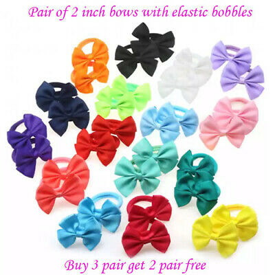 "Girls 3/"" inch hair bows pony tail band bobble for toddlers baby girls clips"