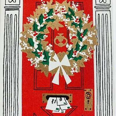 $ CDN13.12 • Buy Vintage Mid Century Christmas Greeting Card Red Door Gold Wreath Gifts Mail