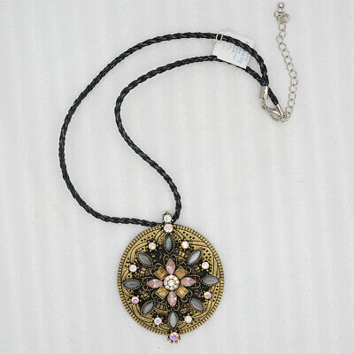$ CDN9.49 • Buy Lia Sophia Jewelry Vintage Gold Tone Large Flower Pendant Cut Crystals Necklace
