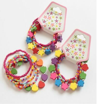 Childrens Girls Kids 5 Pack Wooden Stretch Bracelets Stars Flowers Hearts • 2.99£