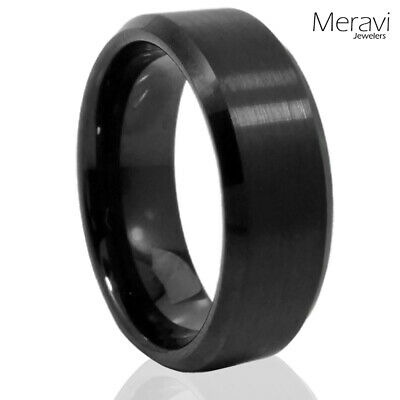 $13.95 • Buy 🔥 Black Tungsten Mens Ring Wedding Band Brushed Center Comfort Fit Band 8mm 6mm