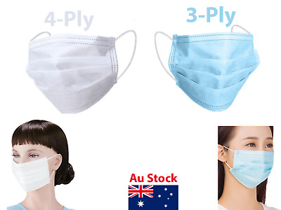 AU34.95 • Buy Face Mask Protective Dental Surgical Ear Loop 3 Ply 4Ply Dust Odour Resistance