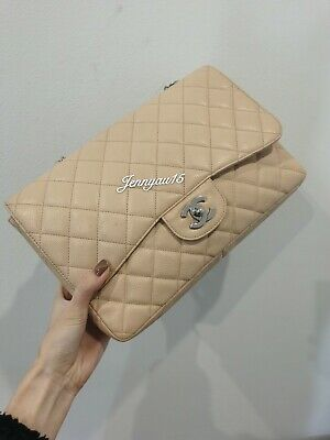 AU4800 • Buy 100% Authentic Chanel Beige Caviar Quilted Classic Single Flap Jumbo SHW