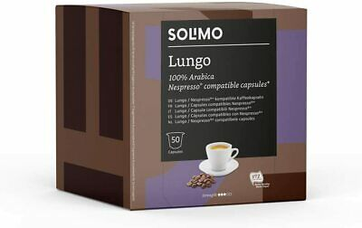 100 X Solimo Nespresso Compatible Lungo Capsules Roast Coffee UTZ Certified 2X50 • 11.99£