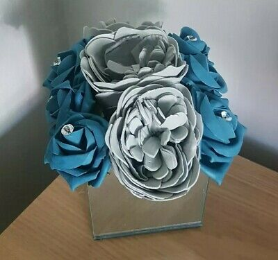 Artificial GREY AND TEAL FOAM ROSES AND PEONY IN MIRROR CUBE VASE ARRANGEMENT • 20.99£