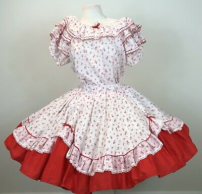$60 • Buy Square Dance Outfit Skirt Blouse White Red Floral Scalloped Ruffle Solid Ruffle