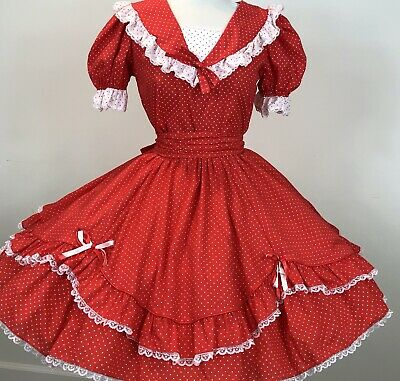 $60 • Buy Square Dance Outfit Skirt Blouse Red White Polka Dot Lace TrimMan Tie