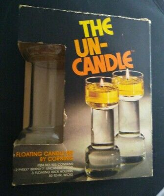 The UN-CANDLE By Corning Pyrex Floating Candle Set Vintage 70s Hippie Oil Candle • 21.39£