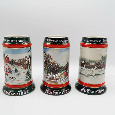 $ CDN76.46 • Buy Budweiser Holiday Beer Stein Mug 90-92 Clydesdale Horses By Ceramarte Lot Of 3