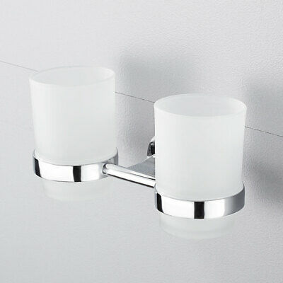 Bathroom  Double Matte Glass Cup Tumbler Toothbrush Holder Wall Mounted • 14.28£