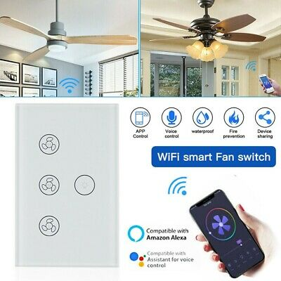 AU35.99 • Buy Wifi Smart Ceiling Fan Controller Wall Switch Touch Panel For Alexa/Google White