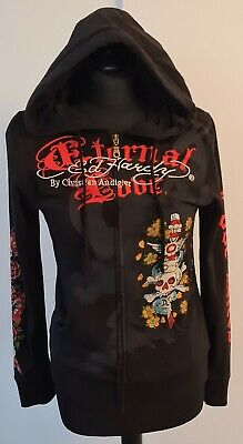 Ed Hardy By Christian Audigier Eternal Love Black Hoodie Size Medium • 155£