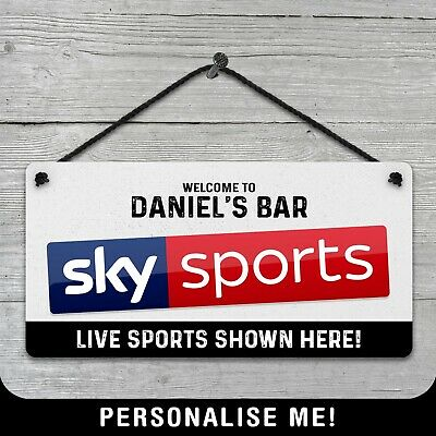 Personalised Hanging Sky Sports Bar Sign Metal Plaque Pub Man Cave Shed Beer  • 6.49£