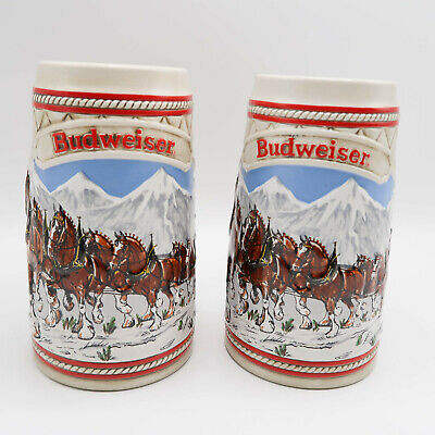 "$ CDN39.55 • Buy 1985 Budweiser Clydesdales ""A"" Series Holiday Beer Stein Vintage Ceramarte Lot"