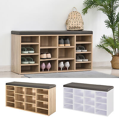 £49.99 • Buy Shoe Storage Rack Cabinet Bench W/ 14 Compartments Cushion Moving Shelves Home