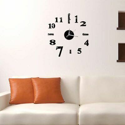 Large Number Wall Clock 3D Mirror Sticker Modern Home Office Decor Art Decal Hot • 5.88£