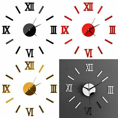 DIY Large Number Wall Clock 3D Mirror Sticker Modern Home Office Decor Art Decal • 5.88£