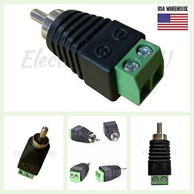 £3.61 • Buy Speaker Wire Cable To Audio Male RCA Connector Adapter Jack Plug Lot