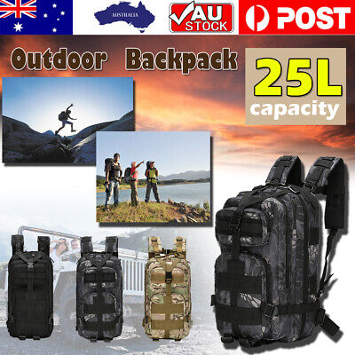 AU22.99 • Buy 25L Camping Backpacks Hiking Bag Army Military Tactical Rucksacks Sport AU