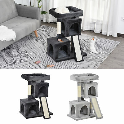 Cat Rest & Play Activity Tree W/ 2 House Cushion Perch Scratching Post • 38.99£