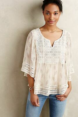 $ CDN52.84 • Buy NWT ANTHROPOLOGIE MEADOW RUE Aeris Silk Peasant Blouse XS/S Neutral Motif $138