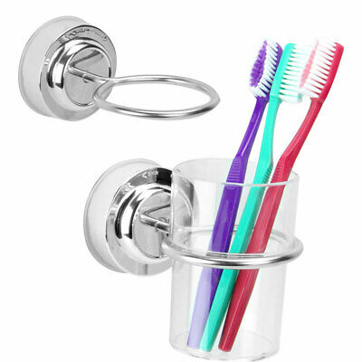 Chrome Toothbrush Tumbler Holder With Clear Cup Bathroom Wall Accessory • 6.59£