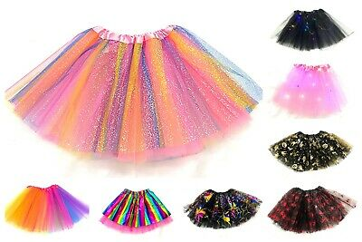 Girls Rainbow Tutu Skirt Multicoloured Halloween Kid's Costume Ballet Dance • 4.99£