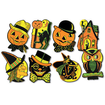 $ CDN10.75 • Buy 8 Vintage Style Halloween Decor Cutouts Retro Decorations Reproduction Die Cut