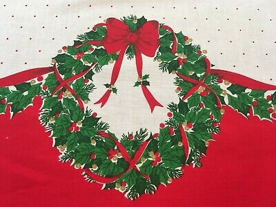 $ CDN33.83 • Buy Vintage Large Christmas Tablecloth Holly Wreaths And Red Polka Dots 106  By 62