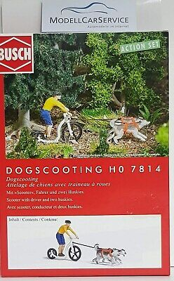 Busch 1/87 : 7814 Action Set   Dogscooting  , With Scooter, Driver And 2 Huskies • 15.28£