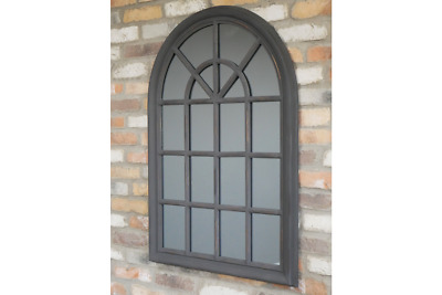 £109.99 • Buy Grey Rustic Gothic Mirror Arched Mirror Window Style Wall Mounted Mirror 6960
