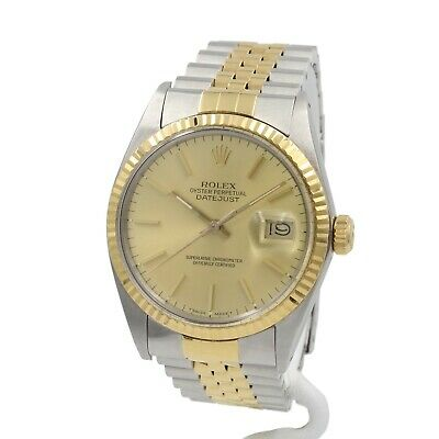 $ CDN2749.34 • Buy Rolex Datejust 16013 18k Gold Steel 36mm Champagne Dial Jubilee Wrist Watch 8311