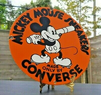 $ CDN70.65 • Buy Vintage Converse Porcelain Mickey Mouse Baseball Sneakers Gas Oil Service Sign