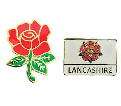 Set Of 2 Lancashire County Red Rose Badge And Lancashire Oblong Lapel Pin Badge • 8.99£