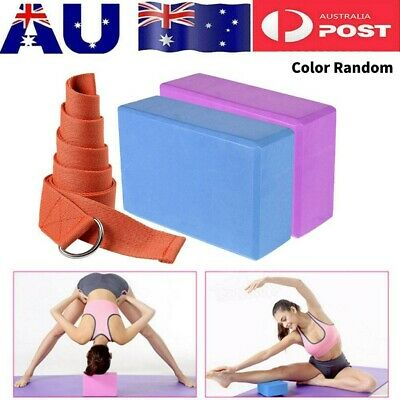 AU19.99 • Buy 2Pcs Yoga Block Brick+Fitness Belt Home Exercise Practice Fitness Gym Sport Tool