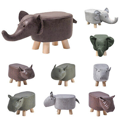 Animal Footstools Faux Leather Fabric Padded Seat Wood Legs Home Ottoman Pouffe • 16.99£