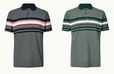 £14.99 • Buy M&s Men's Cotton Polo Shirt Top Navy Green New Rrp £22.50 Marks Spencer