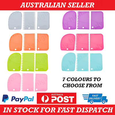 AU9.95 • Buy 3 Pack Dough Cutter Icing Scraper Kitchen Tool Pastry Bowl Divider Bench Fondant