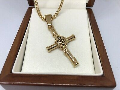 £19.99 • Buy 9ct Gold Filled Crucifix Cross  Pendant Necklace 18  Long FREE GIFT BOX